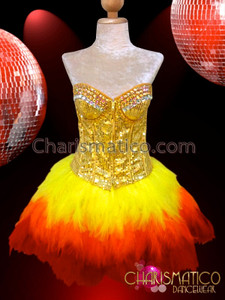 CHARISMATICO Golden sequin corset and matching yellow to red feathered skirt