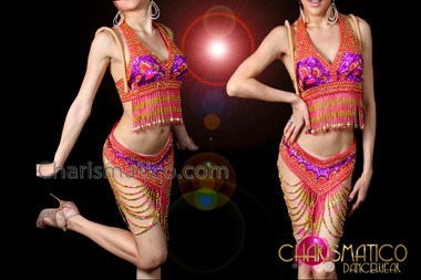 CHARISMATICO Fun and flirty Go-Go style Fuchsia beaded bra and thong set