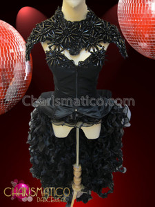 CHARISMATICO Wickedly Sexy Black Gothic Diva's satin Burlesque Costume and Necklace