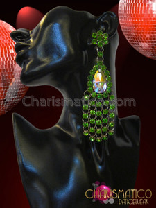 CHARISMATICO Emerald Green Rhinestone Cluster Teardrop Crystal Drag Queen's Chandelier Earrings