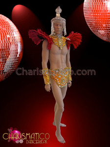CHARISMATICO Red feather accented gold mens four piece Brazilian carnival costume
