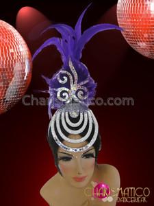 CHARISMATICO Diva's Silver Mirror Tile Accented Cap Purple Feather Cabaret Headdress