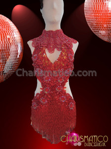 CHARISMATICO Ornately Beaded Red Mambo Salsa Dress With Petite Gothic Necklace