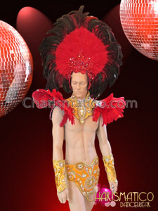 CHARISMATICO Crystal Accented Yellow Mens Brazil Costume Set With Red Feather Embellishments