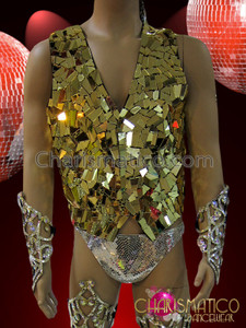 CHARISMATICO Men's Classic Styled Patchwork Metallic Gold Mirror Cabaret Dancer Vest
