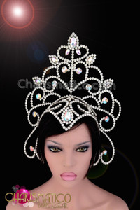 CHARISMATICO Silver Shimmering Rhinestone Formed Openwork Arrowhead Iridescent Crystal Diva Headdress