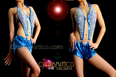 CHARISMATICO Halter Style Crystal Studded Royal Blue Sequin Hot Pants Leotard