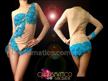 CHARISMATICO Blue Beaded Appliqué On Nude Illusion Long Sleeve Burlesque Leotard