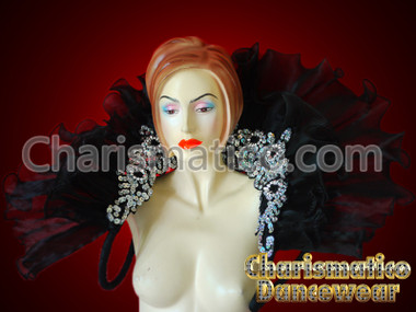 black Cabaret Feather Showgirl Organza Backpack