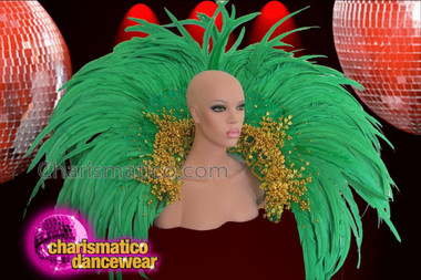 CHARISMATICO Exotic Gold Bead Accented Grass Green Feather Samba Backpack Collar