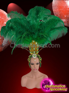 CHARISMATICO Gold Bead and Sequin Grass Green Ostrich Feather Samba Headdress
