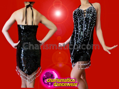 CHARISMATICO Black Corset Illusion Sequined Latin Dance Dress With Beaded Fringe