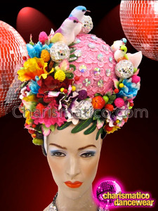 CHARISMATICO Lovebird Accented Pink Based Bridal Tropical Flower Diva Cabaret Headdress
