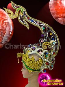 CHARISMATICO Bewitching Jewel Accented Phoenix Patterned Golden Glitter Diva's Cabaret Headdress