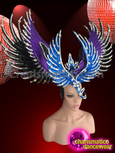 CHARISMATICO Silver Accented, Blue, Purple, and Black Glitter Wing-Styled Half-Mask Headdress