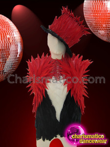 CHARISMATICO Super Sexy Cute Red Accented Black Feather Sleeveless Vest Jacket