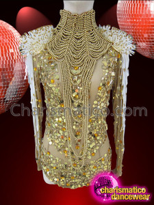 CHARISMATICO Gold Sequin Leotard On Nude Base With Golden Diva Necklace