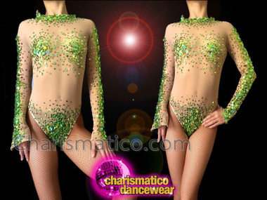 CHARISMATICO Nude Illusion Lime And Grass Green Sequin Accented Dance Leotard