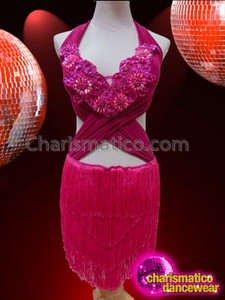 CHARISMATICO Exotic Cross Front Diva Showgirl's Fuchsia Fringe Latin Dance Dress