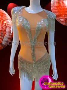 CHARISMATICO Silver Beaded Fringe Embellished Sequin Shouldered Nude Dance Leotard Dress