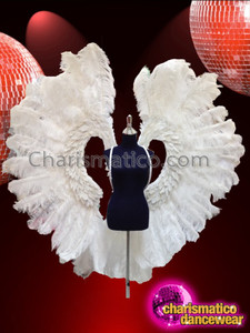 CHARISMATICO Simply Beautiful Pure White Airy Ostrich Feather Angel Wing Backpack