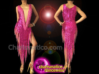 CHARISMATICO Fuchsia Sequin Beaded Fringe Cher Inspired Dress With Modesty Panel