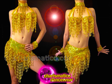 CHARISMATICO Cute Amber Accented Gold Sequin Diva's Bra With Matching Skirt