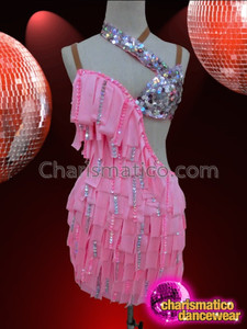 CHARISMATICO Edgy Asymmetrical Ribbon Fringe Pink Dance Dress With Sequin Detailing