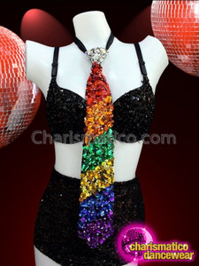 CHARISMATICO Awesome Unisex Metallic Rainbow Striped Multicolor Sequin Gaypride Bold Necktie