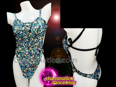 CHARISMATICO Blue Custom Made Dancewear Leotard with Peek-a-boo Cleavage and Sequins