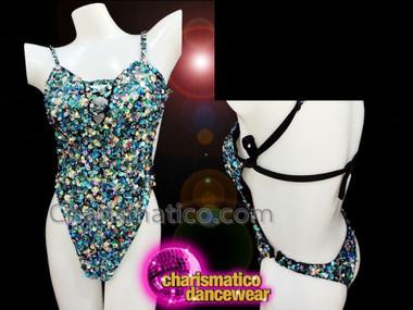 CHARISMATICO Blue Custom Made Dancewear Leotard with Peek-a-boo Cleavage and Sequins