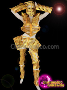 CHARISMATICO Gold Skeleton Costume with Matching Face Mask, Leg Pads and Arm Pads