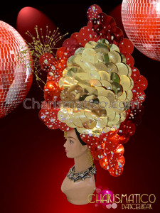 CHARISMATICO Butterfly shaped bright gold and red colored combination headdress