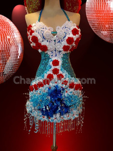 CHARISMATICO Classic Halter Dress With Sky Blue Beads and Beautiful Flowers