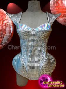 CHARISMATICO Amazing shiny silver halter neck corset glitter queen gaga top