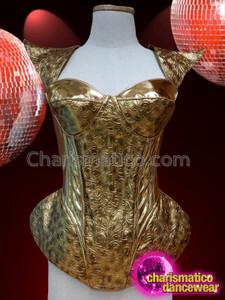 CHARISMATICO Golden armor pattern glamour diva's royal look corset gaga top