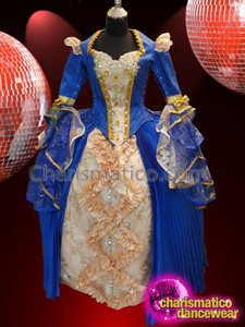 CHARISMATICO Superbly classy midnight blue full sleeved corset diva drag queen long gown