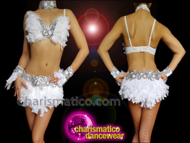 CHARISMATICO sexy and pretty white chiffon rhinestone studded bra and thong combo set