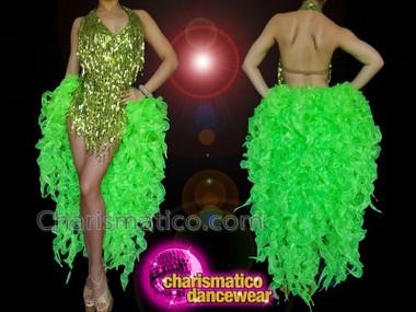 CHARISMATICO Deep parrot green sexy dance diva long tail sequin asymmetrical dress