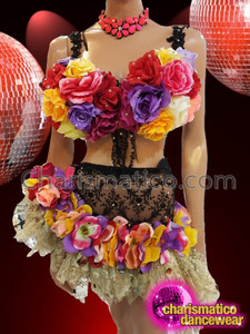 CHARISMATICO Beautiful multi colored floral patterned drag queen dance dress