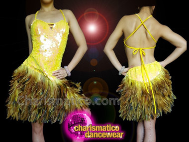 CHARISMATICO Yellow sequin feathered B cut backless sexy dance diva costume