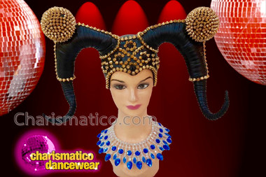 CHARISMATICO Black Reversed Horn Styled Headdress With Golden Conical Small Beads