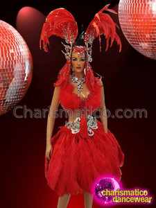 CHARISMATICO Crystal Accented Bright Red Ostrich Feather Diva Showgirl Cabaret Costume Set