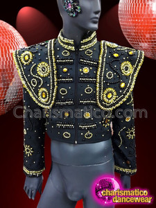 CHARISMATICO Men's Gold, Black and Silver Sequin and Crystal Studded Black Tuxedo