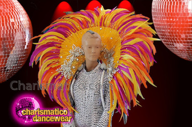 CHARISMATICO Bright extravagant diva showgirl feather backpack