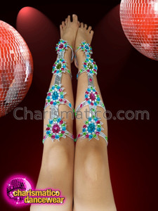 CHARISMATICO Gladiator samba leg guards with floral multi-coloured crystals