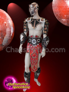 CHARISMATICO Men diva costume set with silver, gold, black armour and red flanked torso