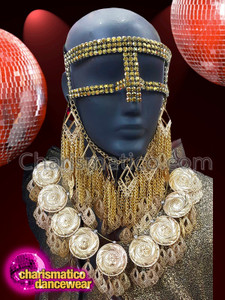 CHARISMATICO Crystal gold mask with gold diamond cuts and silver floral embroidery