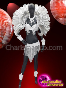 CHARISMATICO Samba Rio Brazil costume with silver ruffled backpack and ruffles