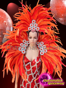 CHARISMATICO Bright orange samba headdress and show girl sequinned backpack